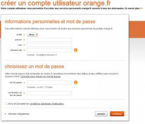 creation compte en ligne Orange