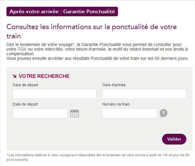 vérification ponctualité SNCF