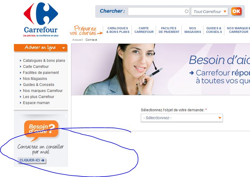 contact carrefour par mail