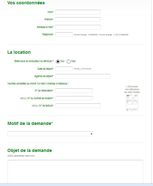 formulaire service client Europcar