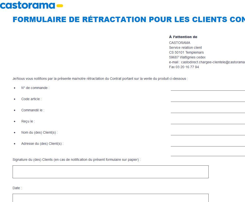 Service Clients Castorama retractation